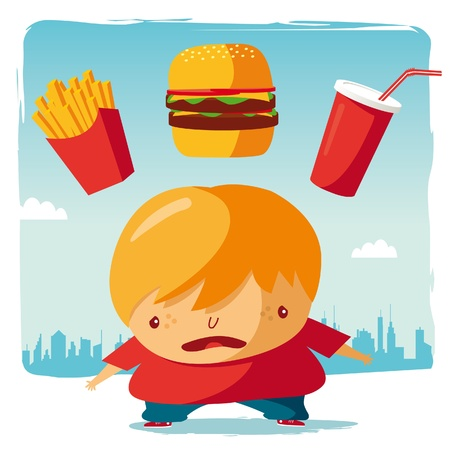 obese person: Obese  fast food Illustration