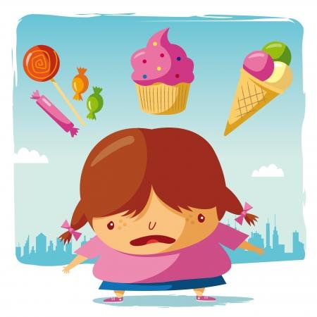 ni�a gorda: Obesos y caramelos, pasteles y helados Vectores