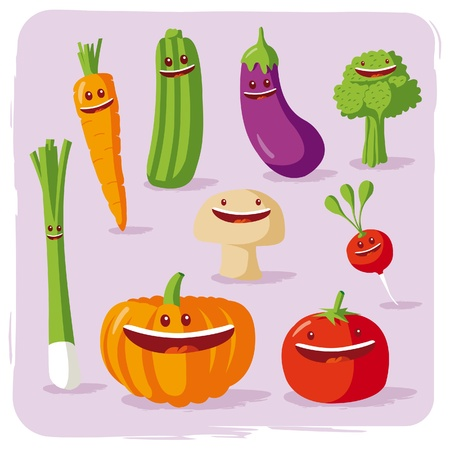pumpkin tomato: funny vegetables Illustration