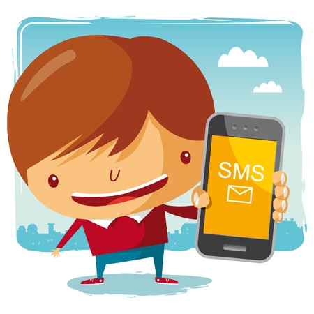 sms: boy and his mobile phone