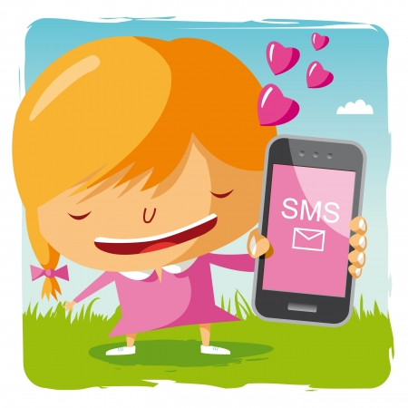 pink cell: chica en el amor y el tel�fono m�vil Vectores