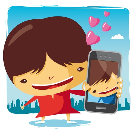 mobile cartoon: girl in love and mobile phone