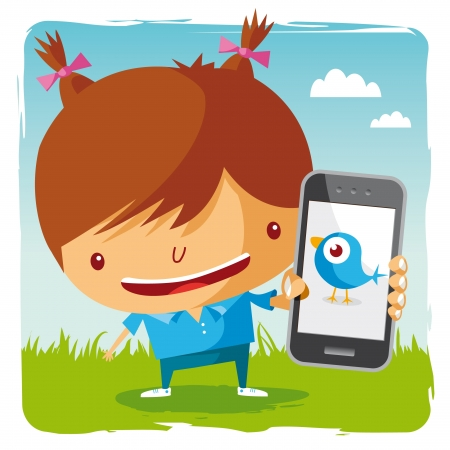 mobilephone: girl and mobile phone - social network Illustration