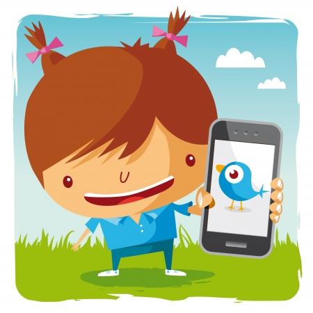 ragazza al telefono: ragazza e cellulare - social network