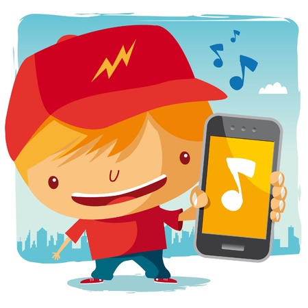 smart boy: Boy and his mobile phone - music Illustration