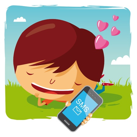 lover boy lying in the grass with his mobile phone - sms Vector