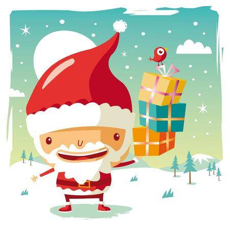 snow man party: Christmas - Santa Claus and his gifts Illustration