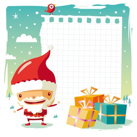 snow man party: Christmas - Santa Claus and gift list Illustration