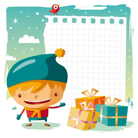 snow man party: Christmas - little boy and his wishlist Illustration