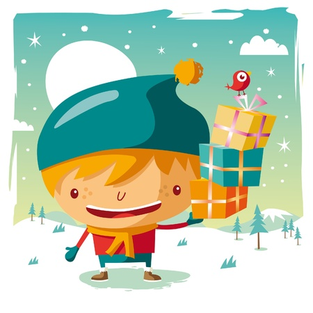 Christmas - little boy and his Christmas gifts Vector