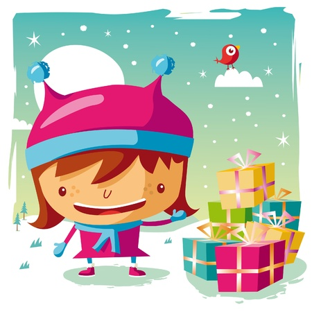 Christmas - little girl and her Gifts Vector