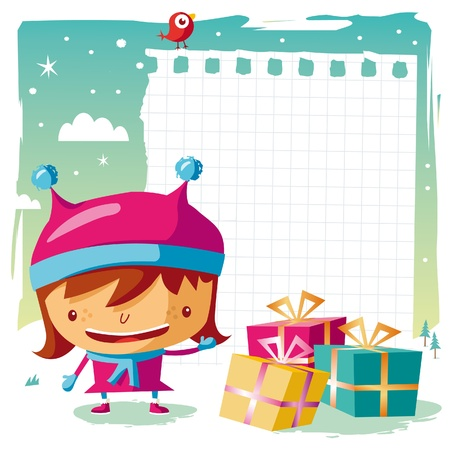Christmas - little girl and her wish list Stock Vector - 10444007