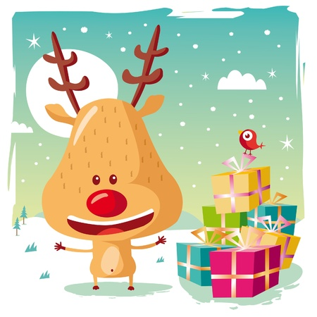 Christmas - Rudolph the Reindeer and his Christmas gifts Vector