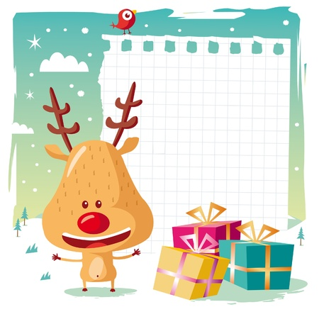 rudolph the red nose reindeer: Christmas - Rudolph the Reindeer and his wishlist Illustration
