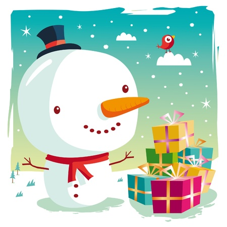 Christmas - snowman and his gifts Vector