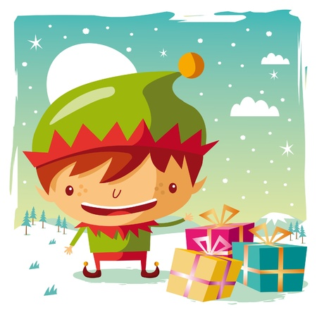 Christmas - Elf and his gifts Stock Vector - 10444023