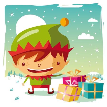 cartoon elfe: Weihnachten - Elf und seine Geschenke
