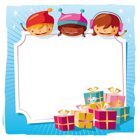 Christmas - Kids with a big tag Stock Vector - 10444012