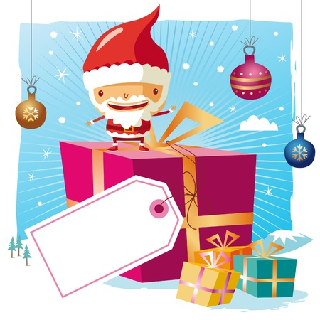 Christmas - santa claus and his gifts with a big tag Vector
