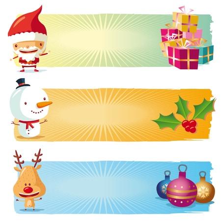 renos navide�os: Banners de Navidad Vectores