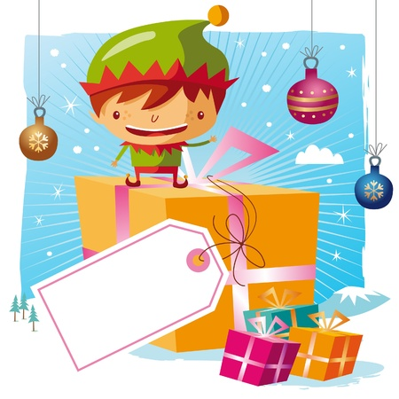 Christmas - Elf and his gifts with a big tag Vector