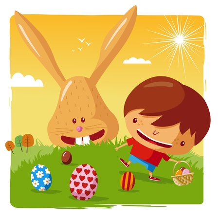 for boys: happy easter - boy and easter bunny Illustration