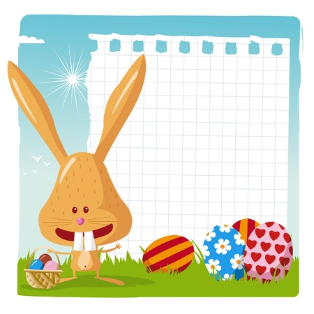 happy easter - easter bunny with blank page Vector