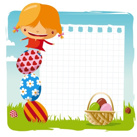 happy easter - girl with blank page Vector