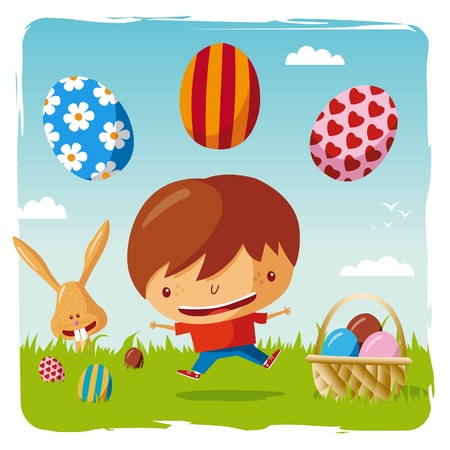 happy easter - boy and easter eggs Vector