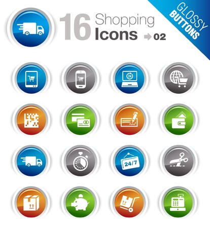 ecommerce icons: Glossy Buttons - Shopping icons Illustration