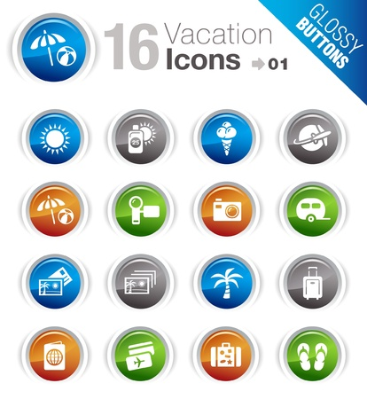 Glossy Buttons - Vacation icons Stock Vector - 10470548