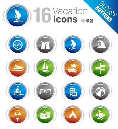 wind surf: Botones brillante - iconos de vacaciones