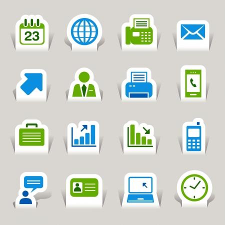 impresora: Papel cortado - iconos de oficina y negocios Vectores