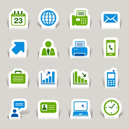 Paper Cut - Office and Business icons Vector