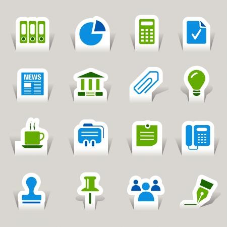 oficina: Corte el papel - Los iconos de oficinas y locales Vectores