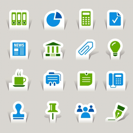 Paper Cut - Office and Business icons Stock Vector - 10470492
