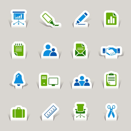 office icons: Paper Cut - Office and Business icons