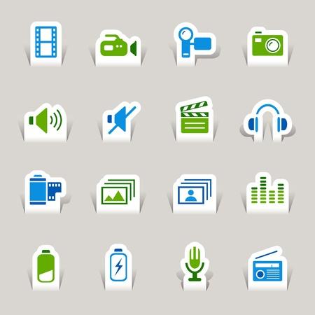 pilas: Papel cortado - iconos de medios
