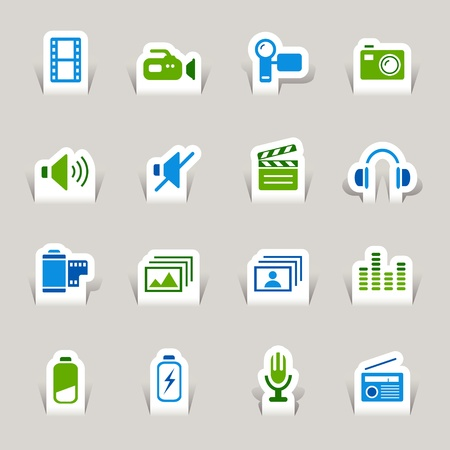 audio speaker: Paper Cut - Media Icons Illustration