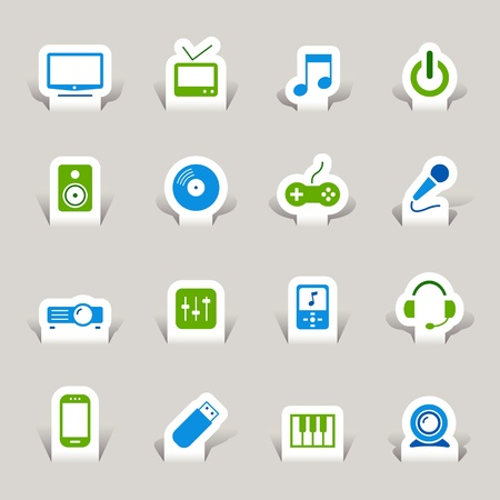 game console: Paper Cut - Media Icons Illustration