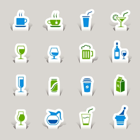 Paper Cut - Drink Icons Vector