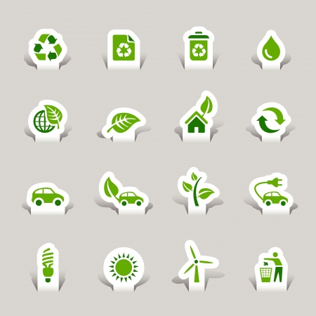 Paper Cut - Ecological Icons Vector