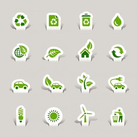 conservacion del agua: Paper Cut - Iconos ecol�gicos Vectores