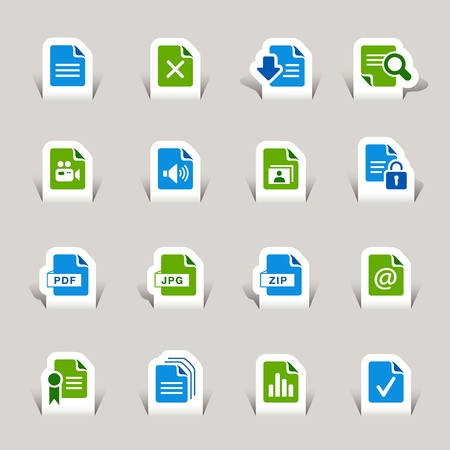 Paper Cut - File format icons Vector