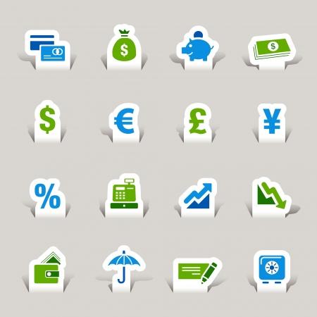 Papel cortado - iconos de Finanzas Ilustración de vector