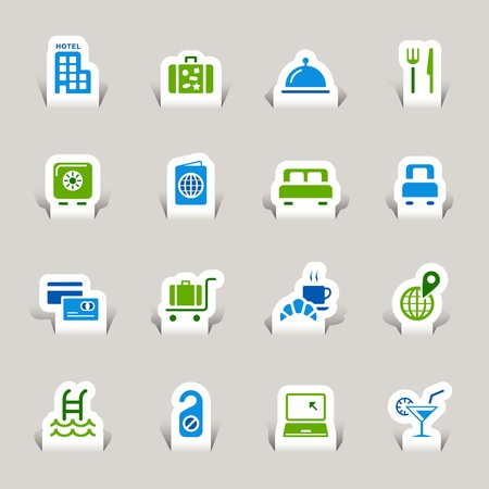 Paper Cut - Hotel icons Vector