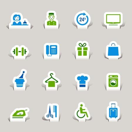 Corte el papel - Los iconos de hotel Ilustración de vector