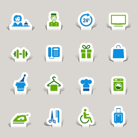Paper Cut - Hotel icons Stock Vector - 10470504