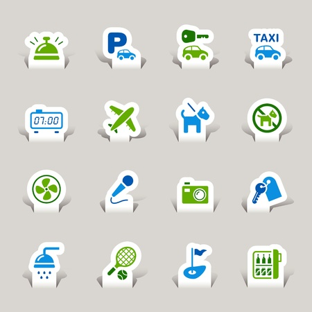 Paper Cut - Hotel icons Stock Vector - 10470545