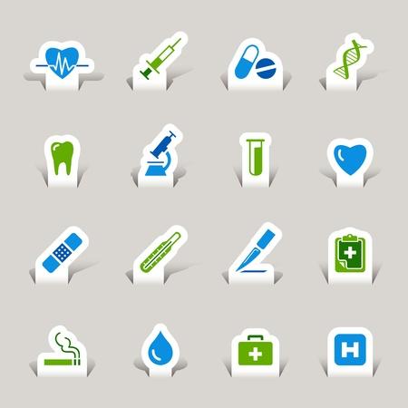 iconos medicos: Corte el papel - Los iconos de m�dicos